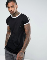 Illusive London T-Shirt In Black With Taping - Black