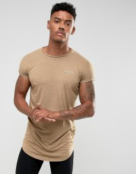 Illusive London T-Shirt In Stone With Rolled Sleeves - Stone