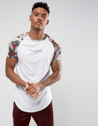 Illusive London T-Shirt In White With Floral Sleeves - White