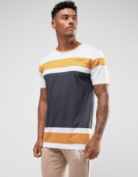 Illusive London T-Shirt In White With Stripes - White