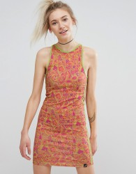 Illustrated People Paisley Bodycon Dress - Orange