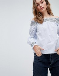 Influence Bardot Top With Contrast Shirred Sleeve - Blue