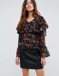 Influence Button Front Floral Ruffle Blouse - Multi
