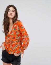 Influence Button Front Peplum Floral Blouse - Orange