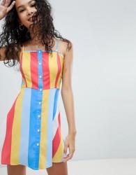 Influence Button Front Rainbow Stripe Sundress - Multi