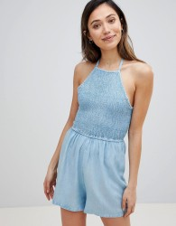 Influence Chambray Halter Neck Beach Playsuit - Blue
