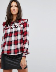 Influence Check Top With Ruffle Front - Red