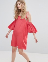 Influence Cold Shoulder Dress With Tassels - Red