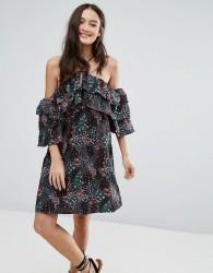 Influence Cold Shoulder Floral Dress - Multi