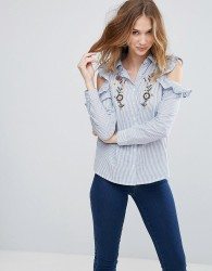 Influence Cold Shoulder Ruffle Shirt With Embroidery - Blue