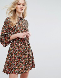 Influence Collared Flared Sleeve Dress In Floral Print - Multi
