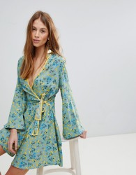 Influence Contrast Binding Floral Wrap Dress - Multi