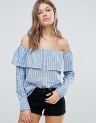 Influence Cotton Stripe Frill Bardot Top - Blue
