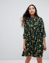 Influence Dip Hem Shirt Dress - Black