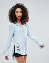 Influence Embroidered Chambray Shirt - Blue