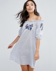 Influence Embroidered Cotton Bardot Dress - Blue