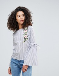 Influence Embroidered Flare Sleeve Top - Blue