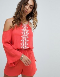 Influence Embroidered Panel Open Shoulder Playsuit - Pink