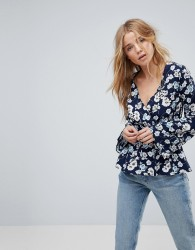 Influence Flared Sleeve Floral Wrap Top - Black