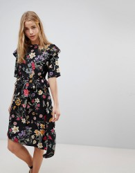 Influence Floral Asymmetric Midi Dress With Studded Belt - Multi
