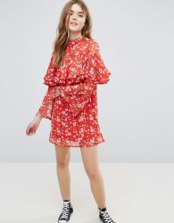 Influence Floral Dress With Ruffle Layers And Flare Sleeve - Red