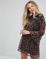Influence Floral Lace Insert Dress With Flare Sleeves - Multi