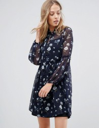 Influence Floral Lace Up Smock Dress - Navy
