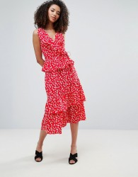 Influence Floral Layered Midi Skirt - Red