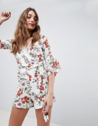 Influence Floral Playsuit With Ladder Detail - White