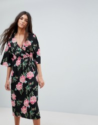 Influence Floral Print Wrap Midi Dress With Flared Sleeve - Black