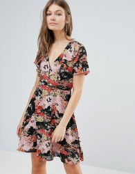Influence Floral Tea Dress - Black