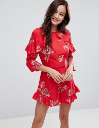 Influence Frill Detail Floral Playsuit - Red