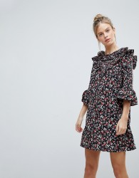Influence Frill Sleeve Floral Shift Dress - Multi