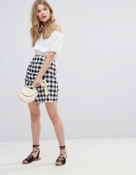 Influence Gingham Skirt With Ruffle - Black