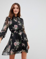 Influence High Neck Floral Dress With Ruffle Sleeves And Tie - Black