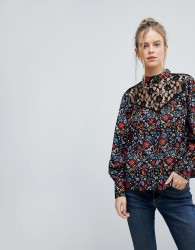Influence High Neck Floral Top With Lace Yoke And Blouson Sleeve - Multi