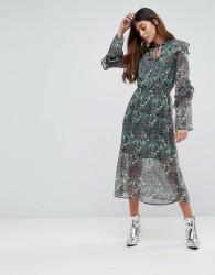 Influence Keyhole Frill Sleeve Floral Midi Dress - Multi