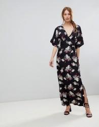 Influence Kimono Sleeve Floral Maxi Dress - Black