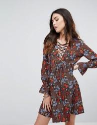 Influence Lace Up Leaf Print Smock Dress - Multi