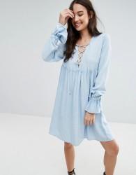 Influence Lace Up Smock Dress - Blue