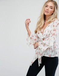 Influence Layered Sleeve Top With Tie Front - Cream