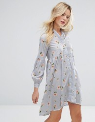 Influence Loose Peplum Blouson Sleeve Dress - Blue
