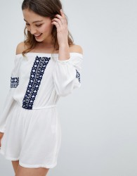 Influence Off Shoulder Embroidered Beach Playsuit - White