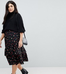 Influence Plus Asymmetric Floral Midi Skirt - Black