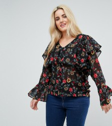 Influence Plus Button Front Floral Ruffle Blouse - Multi