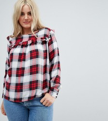 Influence Plus Check Top With Ruffle Front - Red