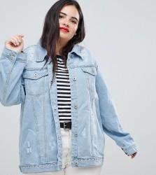 Influence Plus Distressed Denim Jacket - Blue