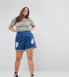 Influence Plus Distressed Denim Shorts - Blue