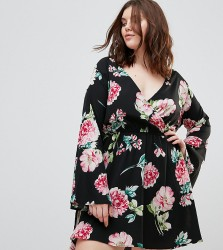 Influence Plus Flared Sleeve Wrap Floral Dress - Multi