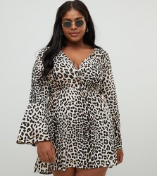 Influence Plus flared sleeve wrap leopard print dress - Brown